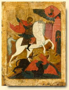 Detailed view: Saint George and the Dragon- exhibited at the Temple Gallery, specialists in Russian icons Saint George And The Dragon, Russian Icons, Best Icons, Fine Art Auctions, Illuminated Manuscript, Religious Art, Byzantine, Ikon, Medieval