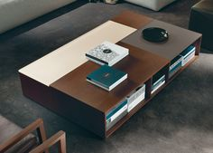 Prive Coffee table by Jesse. Lacquer, wood and glass compartment storage coffee table. Available from Catalog Ltd. Extra Large Coffee Table, Coffee Table With Storage, Decorating Coffee Tables, Furniture Inspiration, Home Decor Inspiration, Modern Coffee Tables, Ping Pong Table, Storage Spaces, Table Decorations
