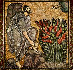 Moses and the Burning Bush; Byzantine mosaic, St. Catherine's Monastery, Mount Sinai