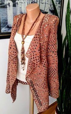 Knitting For BeginnersKnitting FashionCrochet BlanketCrochet Amigurumi Crochet Bra, Crochet Motifs, Crochet Clothes, Crochet Stitches, Cotton Crochet, Crochet Cardigan Pattern, Crochet Jacket, Crochet Shawl, Mode Hijab
