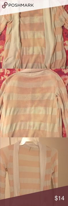 Peach Pink & White Striped Sweater This soft peachy pink & white sweater is perfect for when it windy outside. The seasons, fall & spring is the perfect time to wear this adorable sweater. team rose Sweaters