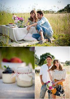 picnic field engagement photo hoot