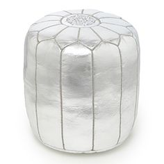 tall silver pouf with oyster embroidery