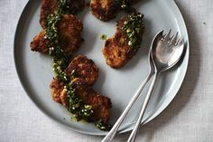 Crisp Pork Cutlets with Citrus Salsa Verde recipe on Food52