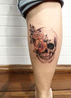 Roses on Skull Tattoo