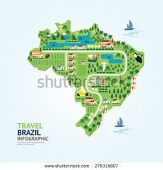 Infographic travel and landmark brazil map shape template design. country navigator concept vector illustration / graphic or web design layout. - Shutterstock Premier