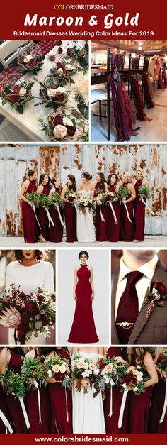 Maroon red and glitter gold winter wedding color inspiration. Maroon bridesmaid … Maroon red and glitter gold winter wedding color inspiration. Maroon bridesmaid dresses are great with vintage groom's suit. Winter Wedding Bridesmaids, Maroon Bridesmaid Dresses, Red Bridesmaids, Wedding Dresses, Dresses Dresses, Bridesmaid Color, Winter Weddings, Wedding Bouquets, Gold Wedding Colors
