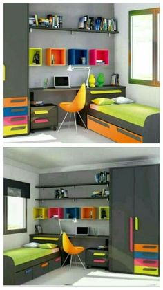 71 Stunning Small Bedroom Design Ideas - artmyideasYou can find Kids bedroom furniture and more on our Stunning Small Bedroom Design Ideas - artmyideas Small Bedroom Designs, Small Room Design, Home Room Design, Kids Room Design, Study Room Design, Bedroom Small, Small Rooms, Single Bedroom, Boys Bedroom Decor