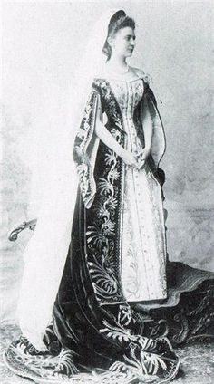 Russian Court dress. Lady-in-Waiting Elizabeth Tolstaya in her Ceremonial Court dress.
