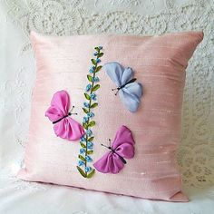 Butterflies Pillow Cover pink silk ribbon embroidery by bstudio,