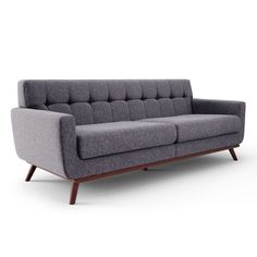 The dramatic styling of the Verona sofa embodies mid-century modern styling with spacious seating. Its walnut stained frame is perched upon flared legs. Upholstered in your choice of a warm grey, charcoal grey or classic green linen-like fabric. Mid Century Modern Sofa, Mid Century Modern Furniture, Contemporary Furniture, Midcentury Modern, Living Room Sofa, Living Room Furniture, Sofa Furniture, Furniture Design, Rustic Furniture