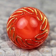Vintage Red Glass Moonglow Button Gold Luster Trim
