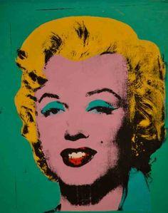 Pintura do artista do movimento Pop Art, série de pinturas com o motivo Marilyn Monroe em variadas cores, 1962.