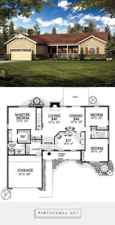 I like the floor plan - exterior needs something different, too plain Ranch House Plans, Craftsman House Plans, Best House Plans, Country House Plans, Dream House Plans, Modern House Plans, Small House Plans, House Floor Plans, Dream Houses