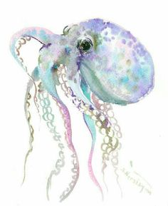 "Grau blau lila Octopus Kunst 10 ""X original Aquarellmalerei Octopus Ar Octopus Decor, Octopus Design, Octopus Art, Octopus Drawing, Octopus Painting, Watercolor Sea, Watercolor Animals, Watercolor Paintings, Art Paintings"