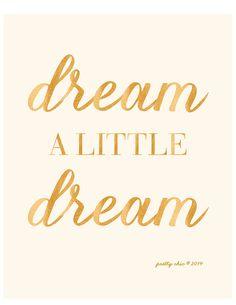 Dream A Little Dream Print Nursery Art Gold by prettychicsf