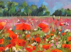 """Daily Paintworks - """"Red Poppy Fields Forever..."""" - Original Fine Art for Sale - © Anne Ducrot"""
