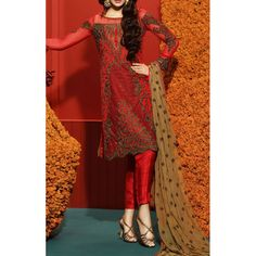 Red Embroidered Chiffon Dress Contact: (702) 751-3523 Email: info@pakrobe.com Skype: PakRobe