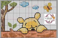 Cross Stitch Sampler Patterns, Disney Cross Stitch Patterns, Cross Stitch Samplers, Cross Stitch Embroidery, Disney Stitch, Xmas Cross Stitch, Cross Stitch Baby, Winne The Pooh, Donia