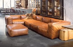 Prime quality leather corner sofa in a cognac colour. This sofa comes in a corner composition made up of 6...