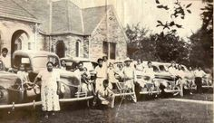 Each Choctaw Indian was given their plot of land when they were forced to break up the Nation by the Federal government in 1906. Silsainey Jones the short stocky lady to the left of the 1940 photo was one of the lucky few to have received land with oil on it. Here she has purchased a car for each of her 6 children. Note: she also bought them houses.