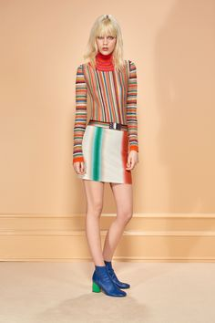 Missoni   Pre-Fall 2016   16 Multicolored striped long sleeve sweater and white belted mini skirt