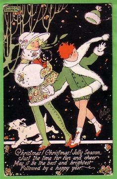 Phyllis Cooper (English illustrator; 1895-1988) ~ A Walk in the Wind [Christmas card]