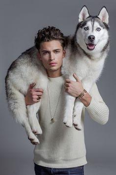 Harvey Newton-Haydon with his Husky, Xavier. Photography Poses For Men, Animal Photography, Surfer Guys, Man Beast, Man And Dog, Dog Modeling, Male Poses, Jolie Photo, Dog Portraits