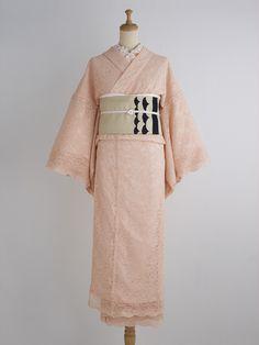 オレンジペコー 着物・薄桜   DOUBLE MAISON lace kimono レースの着物 kimono no yamato, double maison brand