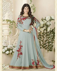1. Grey georgette anarkali suit 2. Floral embroidered with stone work 3. Comes with a matching bottom and dupatta 4. Can be stitched upto size 42 inches