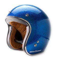 3/4 Open Face Vintage Helmet - Blue Metal Flake
