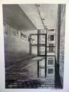 one point perspective graphite