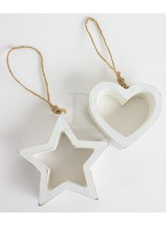 Chunky Wooden Hanging Heart and Star, 2a - 19591 | Rosefields