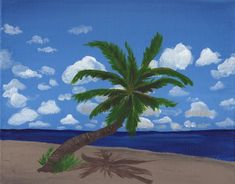 Sunny Beach with Palm Tree - Free Arts Academy- Art From Our Channel Sky Painting, Acrylic Painting Canvas, Art Paintings For Sale, Flower Landscape, Sunny Beach, Art Academy, Beach Scenes, Pet Portraits, Palm Trees