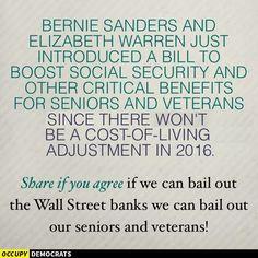 Bernie Sanders & Elizabeth Warren introduced a bill to enhance benefits for vets & elderly. #Bernie2016 #feelthebern