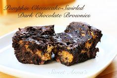 pumpkin-cheesecake swirled dark chocolate brownies