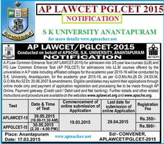 AP LAWCET 2015, AP PGLCET 2015 Notification, Syllabus, EligibilityAP LAWCET PGLCET 2015 Notification, Syllabus for AP LAWCET, Eligibility Criteria, Syllabus, AP LAWCET Notification 2015-2016 released by SK University, Ananthapur