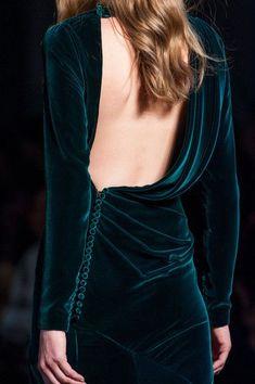 green velvet open back dress