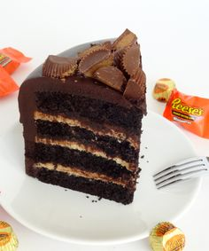 Peanut Butter and Chocolate Cake with Reese's--You are going to want to make sure you have a glass of milk handy – it's a rich one!  Super chocolatey and dense with just enough peanut butter, it's like eating a giant Reese's cup. Seriously. And for extra richness and chocolate, I added a thin layer of ganache in with the peanut butter cream cheese icing, but you could easily forgo that and not miss out.
