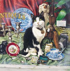 Cat paintings, cat art, teddy bear art by leading English cat painter Geoffrey Tristram.