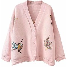 703450dc45 Womens Fashion V Neck Bird embroidery Hole Knit Sweater Cardigan   gt  gt  gt