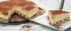 Foto: Heerlijke taart met een bodem van in koffie gedrenkte lange vingers met een laag cheesecake met mascarpone. Geplaatst door LeukeRecepten op Welke.nl
