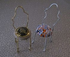 Champagne cages made into little chairs for a memento from that special occasion.