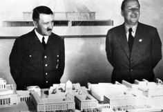 """A Hoffmann outtake from the summer of 1940 showing Hitler with his architect, Hermann Giesler. It was to Giesler whom Hitler entrusted his most personal project: the reconstruction of Linz, Austria, his""""hometown,"""" and where he wished to retire."""