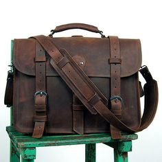 "Leather Briefcase/Backpack/Messenger/Laptop/Men's Bag/Bag Large 16"" in Dark Brown--Y001"