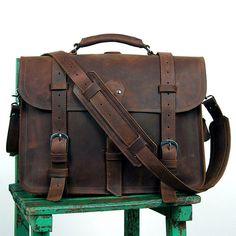 "High quality genuine crazy horse leather Bag/Rugged Leather Briefcase/Backpack/Messenger/Laptop/Men's Bag/Bag Large 16"" in Dark Brown"