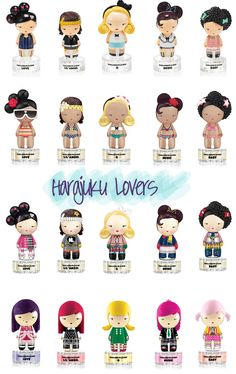Harajuku Lovers=Super Cute!  I have the original top row and the bottom row.... i wish i got the snow bunnies and beach cuties...