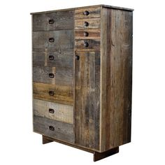 Reclaimed wood chest with eleven drawers and a storage cupboard.Product: ChestConstruction Material: Reclaimed wood