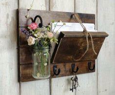 Unique Rustic Wood Mail and Key Holder. Hanging Mason Jar..Farmhouse Wall Decor Organizer..Key Hooks.. Mason Jar Shelf