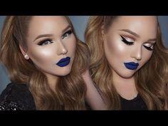 BLUE Lipstick + GLOWY Glam Cut-Crease Makeup – Makeup Project